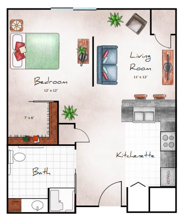 IL Studio, 637 SF NET floor plan