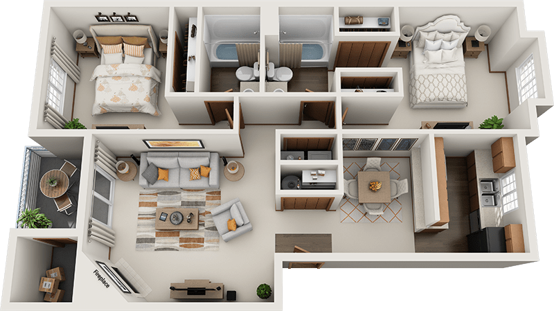 Arbor Square Apartments Lincoln 2-Bedroom Floor Plan