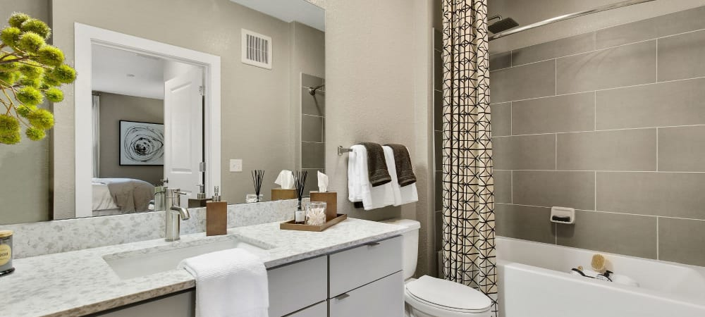 Spacious bathroom with large mirror and ample counter space at Steele Creek in Jacksonville, Florida
