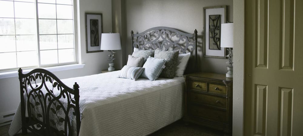 Upscale bedroom at The Springs at Whitefish in Whitefish, Montana