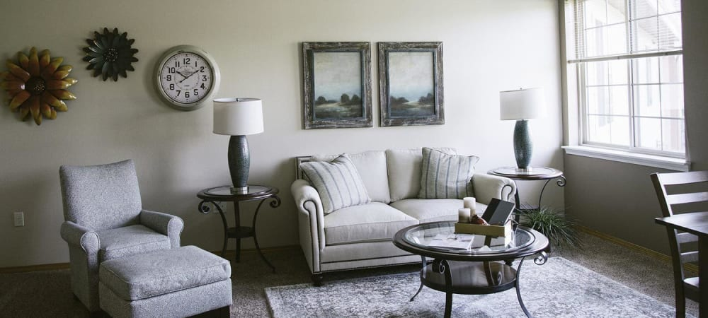 Upscale sitting room at The Springs at Whitefish in Whitefish, Montana