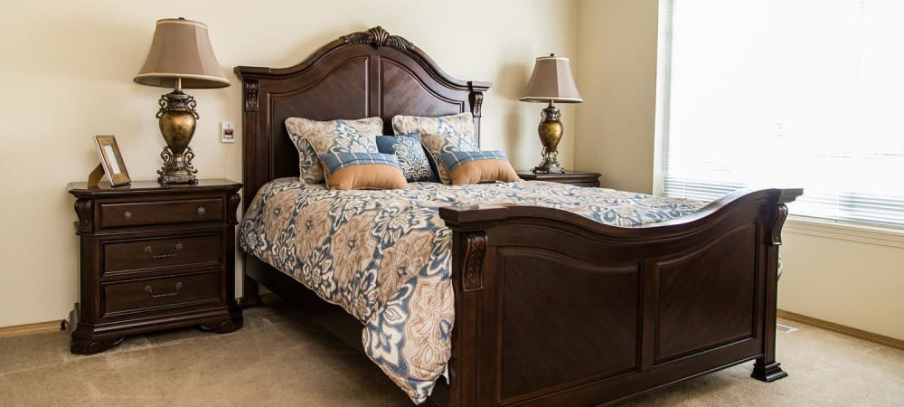 Upscale bedroom in senior memory care facility at The Springs at Butte in Butte, Montana