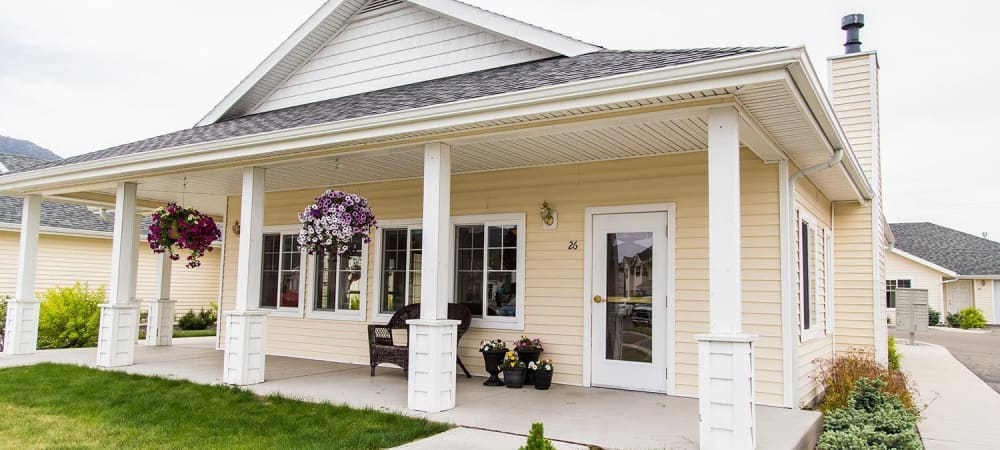 Quaint porch in upscale senior memory care facility at The Springs at Butte in Butte, Montana
