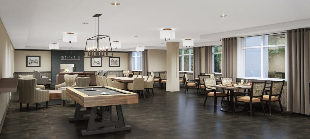 Large game room complete with pool table in upscale senior living facility at The Springs at Sherwood in Sherwood, Oregon