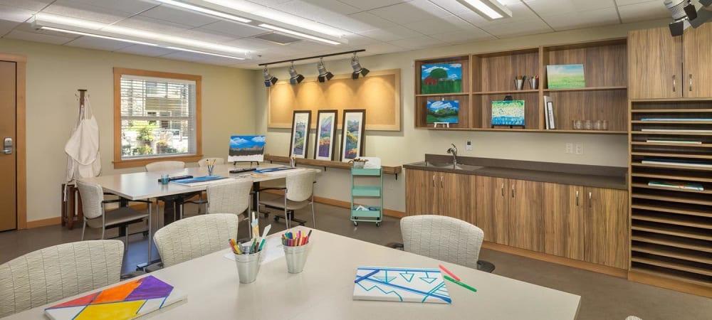 Art studio for residents at The Springs at Greer Gardens in Eugene, Oregon