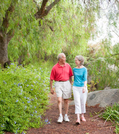 Couple walking at Westmont Village in Riverside, California