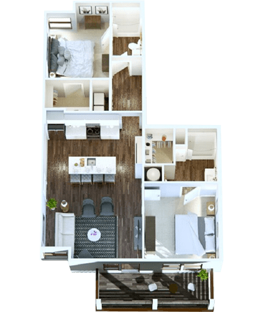 2-Bedroom option in Nashville, Tennessee at Rivertop Apartments