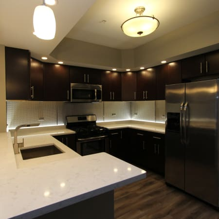 Modern kitchen at 770 Elmwood Apartments