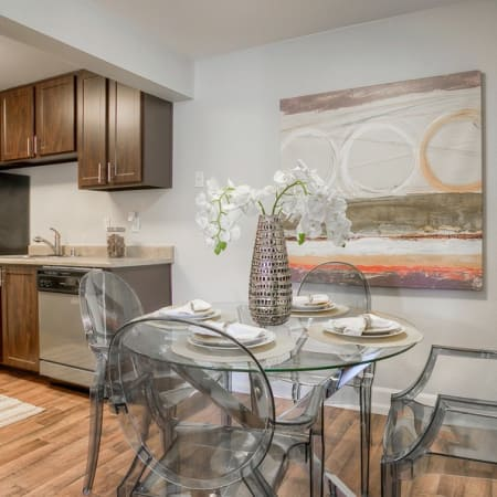 dining room and kitchen view at Newport Crossing Apartments