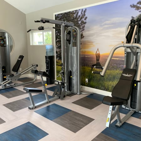 newly renovated fitness center with weight machines at Bridge Creek Apartments
