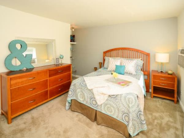 Model bedroom at Wedgewood Hills Apartment Homes