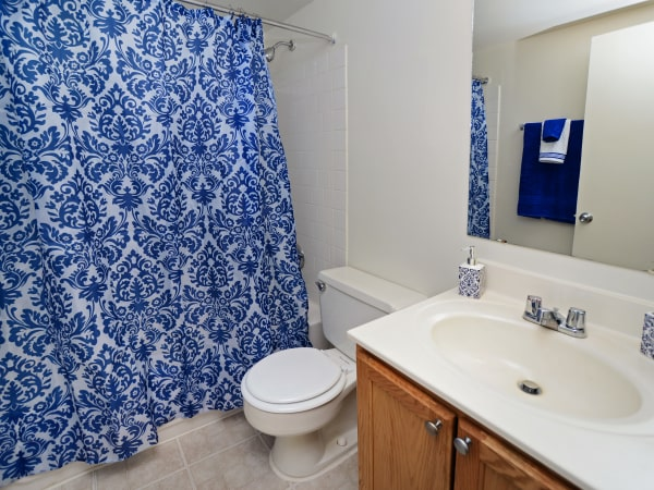 Model bathroom at Arbors at Edenbridge Apartments & Townhomes in Parkville, MD