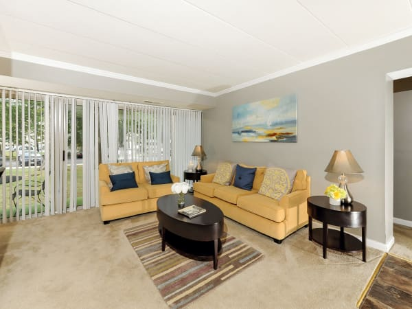 Another view of model living room at Willowbrook Apartment Homes in Baltimore, MD