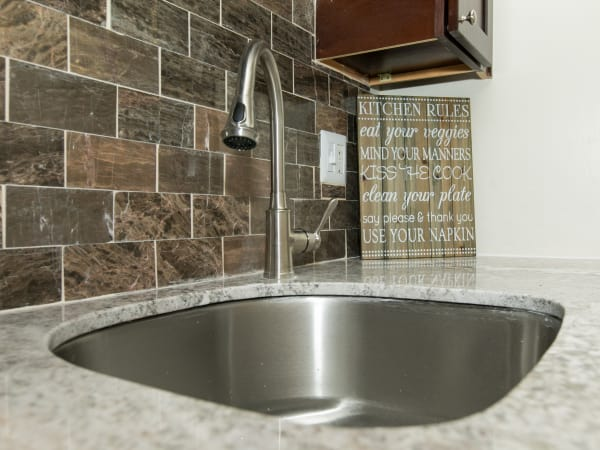 Stainless-steel sink at apartments in Glen Burnie, Maryland