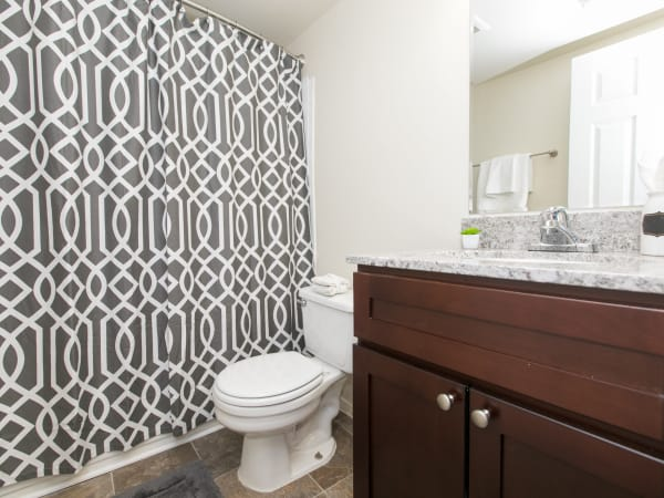 Modern bathroom at Quail Hollow Apartment Homes in Glen Burnie, Maryland