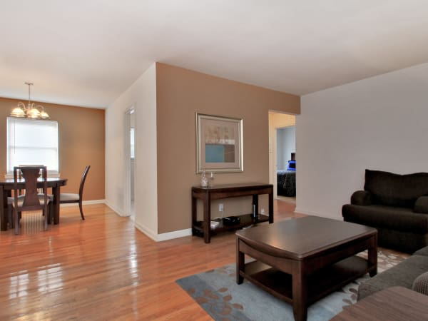 Elmwood Village Apartments & Townhomes offers a spacious living room in Elmwood Park, New Jersey