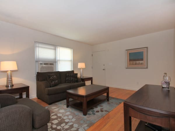Enjoy apartments with a natrually well-lit living room at Elmwood Village Apartments & Townhomes
