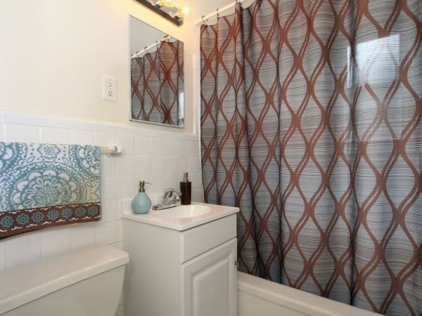 Cozy bathroom at apartments in Elmwood Park, New Jersey
