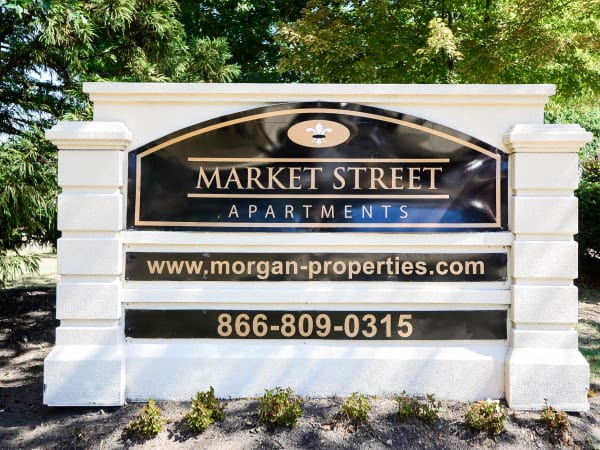 Welcome monument at Market Street Apartment Homes in Perth Amboy, New Jersey