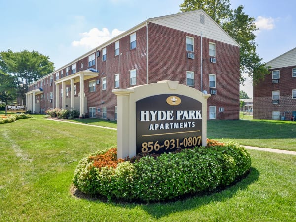 Welcome monument at Hyde Park Apartment Homes in Bellmawr, New Jersey