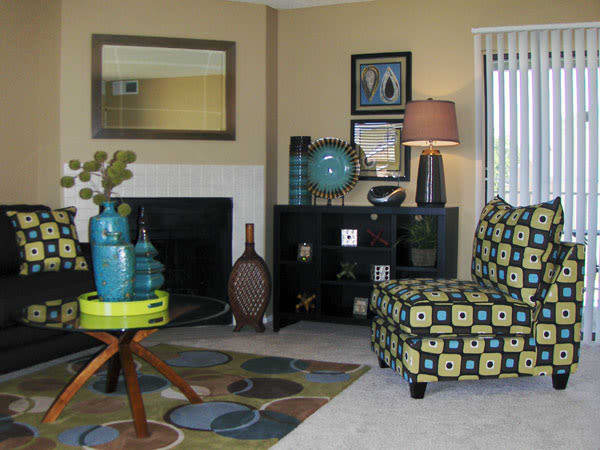 Living room at Greentree Apartments in Carrollton, Texas