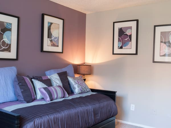 Our apartments in Carrollton, Texas showcase a beautiful bedroom