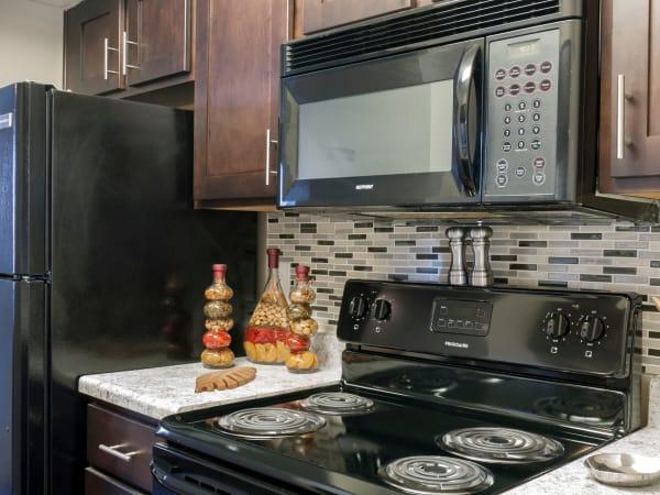 Modern kitchen at apartments in Carrollton, Texas