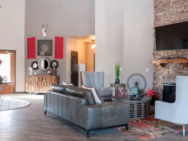 Spacious living room at apartments in Carrollton, Texas