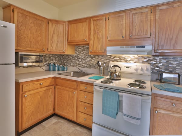 Modern kitchen at The Willows Apartment Homes