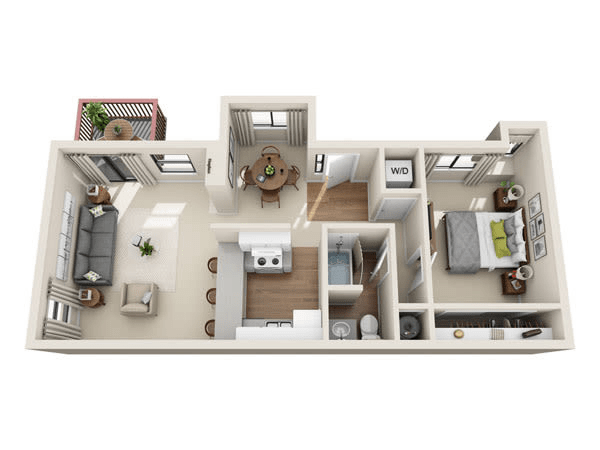 Spacious one bedroom, one bathroom apartment at The Knolls at Sweetgrass Apartment Homes