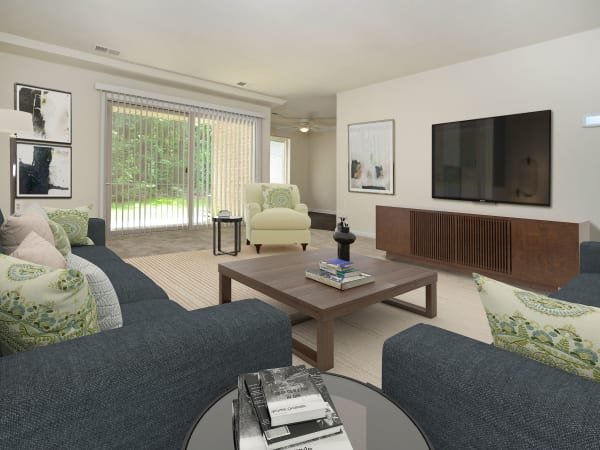 Spacious Living Room at Quail Hollow Apartment Homes in Glen Burnie, Maryland