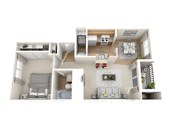 The Jonathan floor plan at The Park at Cooper Point Apartments