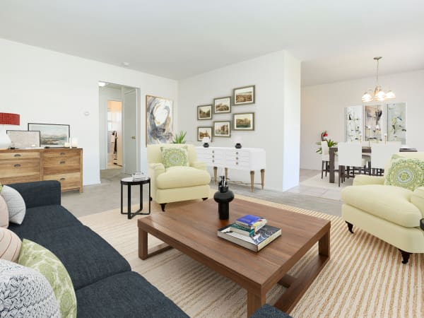 Spacious Living Room at Rolling Gardens Apartment Homes in Mahwah, New Jersey