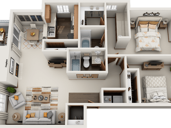 Arbor Square Apartments Roosevelt 2-Bedroom Floor Plan