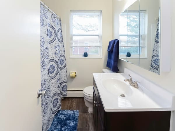 Bathroom at Hyde Park Apartment Homes in Bellmawr, New Jersey