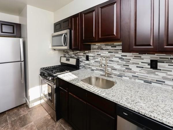 Modern Kitchen at Elmwood Village Apartments & Townhomes in Elmwood Park, New Jersey