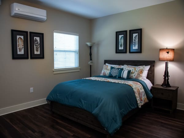 Bright bedroom at Westminster Memory Care in Aiken, South Carolina.