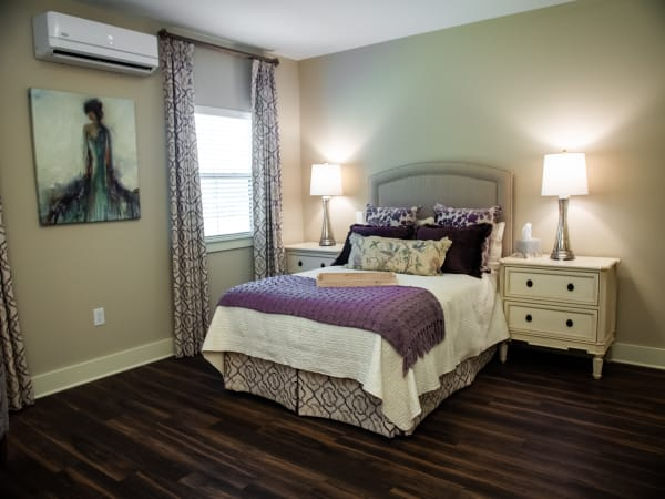 Inviting bedroom at Westminster Memory Care in Aiken, South Carolina.