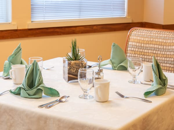 A table setting at Mission Healthcare at Bellevue in Bellevue, Washington.