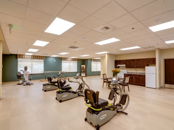 Fitness room at Mission Healthcare at Renton in Renton, Washington.