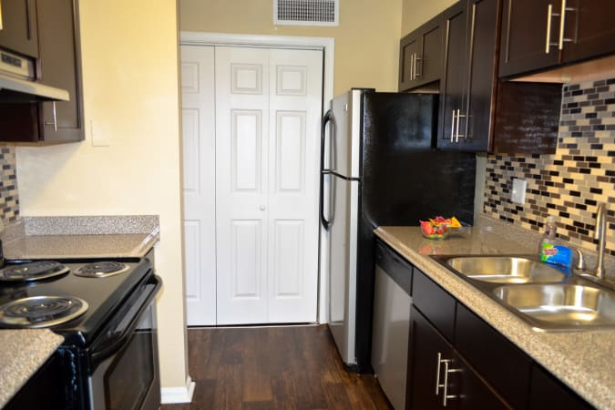 Clean kitchen in one of our apartments at Stone Ridge at Vinings in Atlanta, Georgia