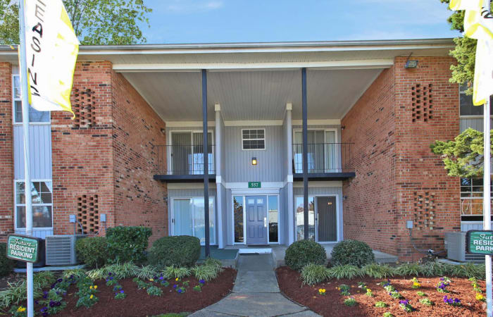 Main entrance at The Residences at Forest Grove in Newport News, Virginia