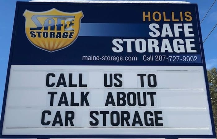 Front sign featuring car storage at Safe Storage in Hollis, Maine