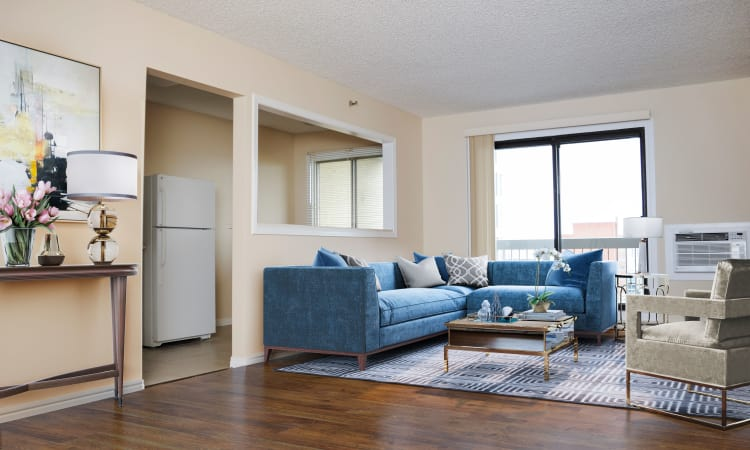 Large living room windows at Saskatoon Tower in Saskatoon