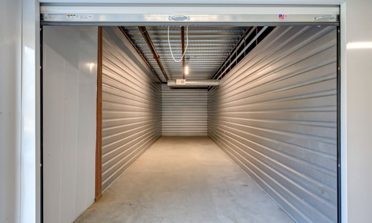 Large storage units at Storage Solutions of Plainville in Plainville, Massachusetts