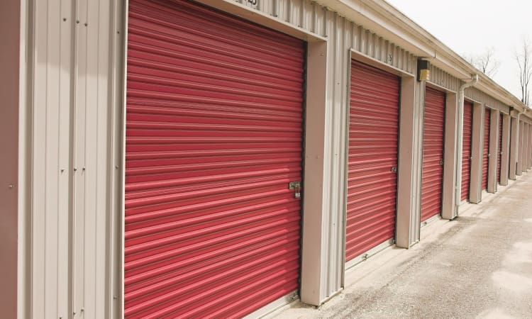 Roll-up doors to our drive up storage at Granary Storage in Salt Lake City, Utah