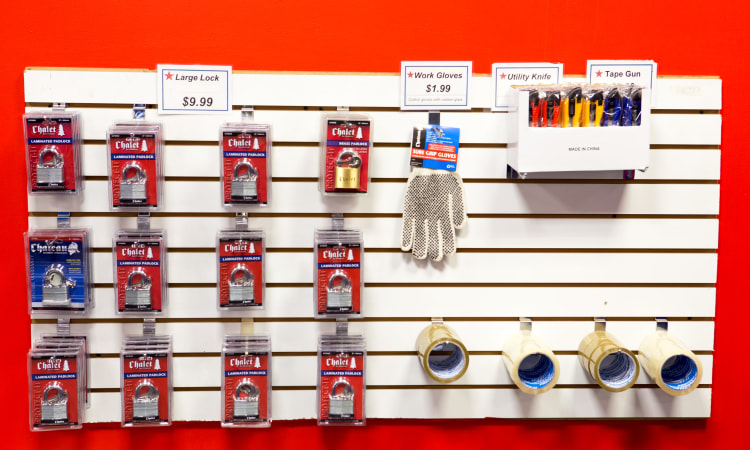 Locks and tape for sale at American Self Storage in Bronx, New York