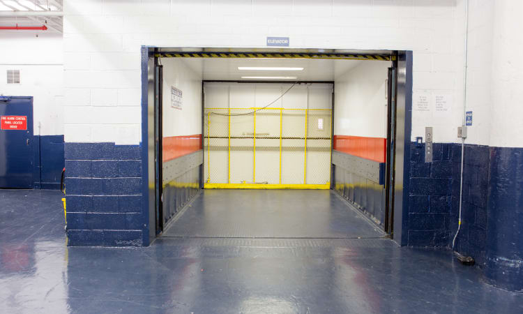 Freight elevator at American Self Storage in Bronx, New York