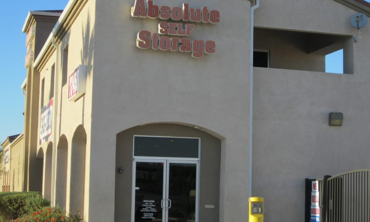 Office entrance at Absolute Self Storage in Thousand Palms, California