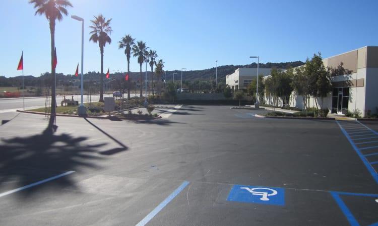 Office parking at Daytona RV & Boat Storage in Perris, California